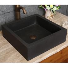 Square honed natural black lava square stone basin
