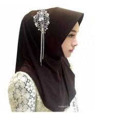 Замечательная ткань женщины леди мода мусульманский хиджаб шарф булавки брошь
