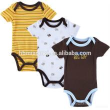 Neuer Sommerartbabyjungen beiläufiger kurzärmliger gelber und dunkelblauer Streifenspielanzug-Gentleman-Babyspielanzug