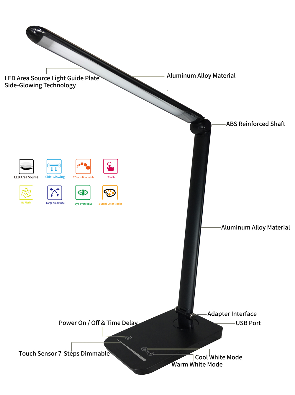 led desk lamp usb