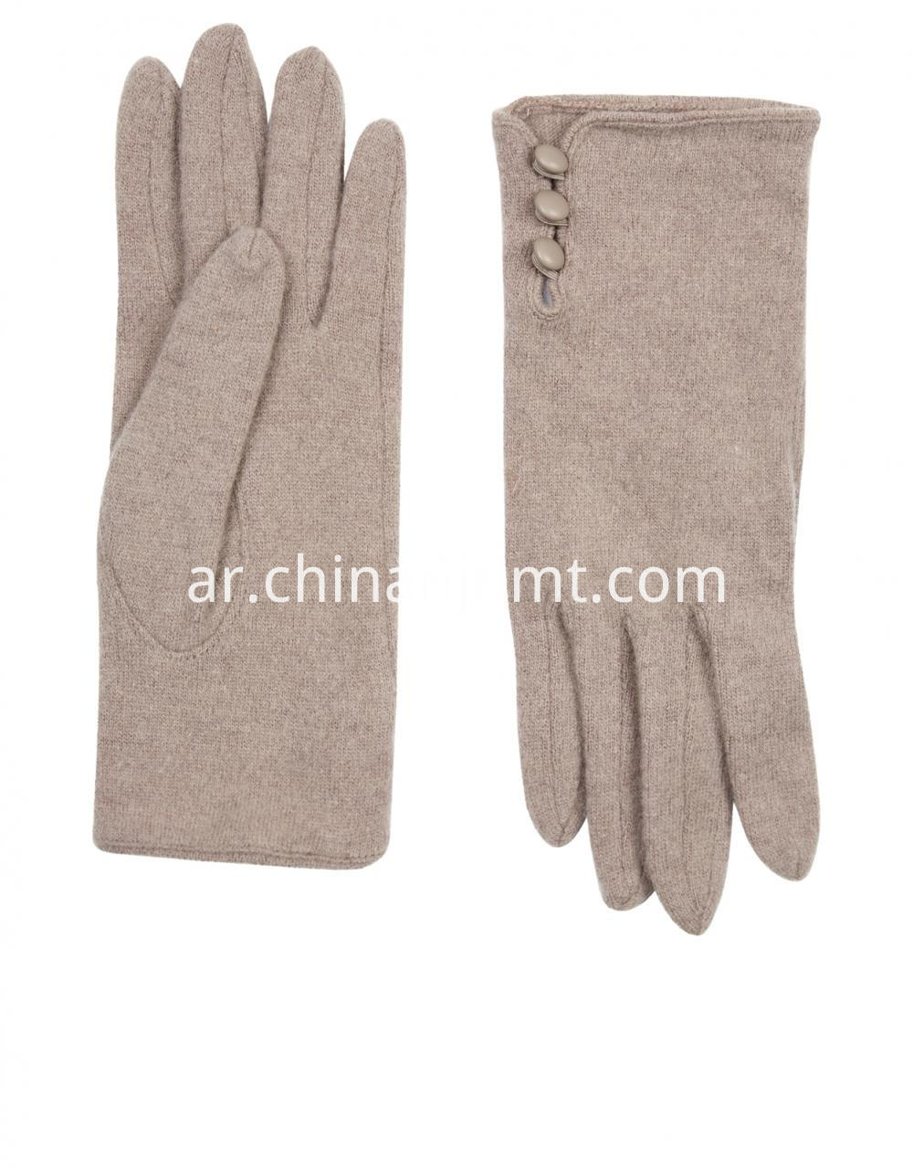 Wool Glove With Buttons Gloves