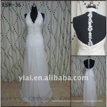 RSW-36 2012 Halter Backless Lace Sheath Ivory Chiffion Wedding Dress