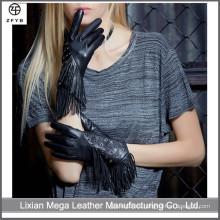 Vestido de moda de las mujeres Fringed fábrica de guantes de cuero en China