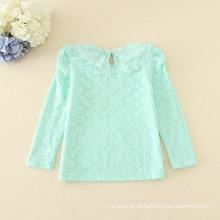 Langarm T-Shirts Minze Farbe warme Kleidung Winter Unterhemden gilrs Baby Spitze appliziert T-Shirts Großhandelspreis