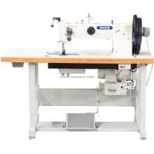 Máquina de coser de trabajo pesado con pie móvil de doble aguja y triple alimentación para tapicería de cuero y correas