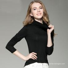 Damen-Rollkragen-langes Hülsen-T-Shirt leeres kundenspezifisches Logo
