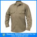 Cheap Workwear Khaki Cotton Drill Work Shirt Design for Men