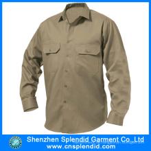 Günstige Workwear Khaki Baumwolle Bohrer Arbeit Shirt Design für Männer