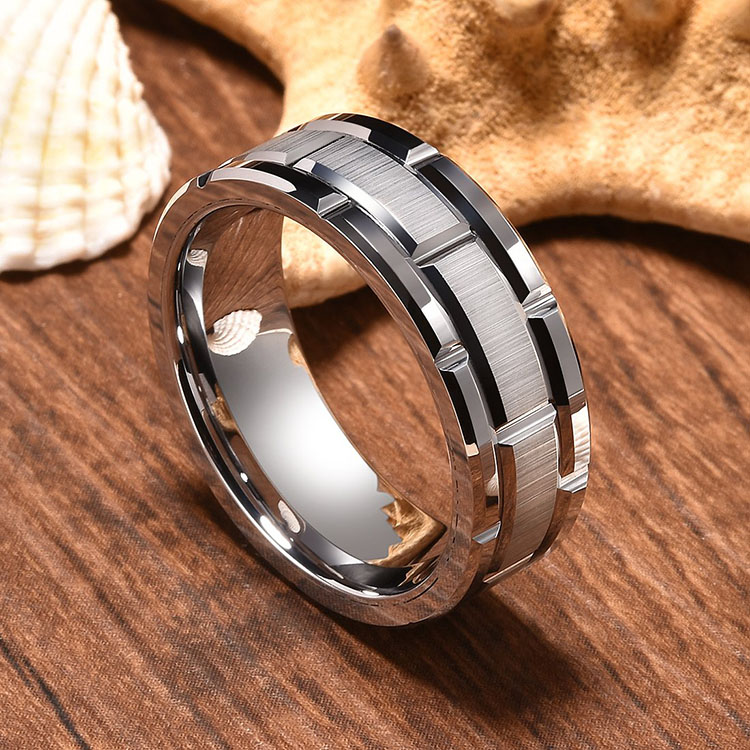 Mens Engraved Tungsten Rings