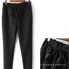 OEM chegada nova mais tamanho elástico Wasiat Black Ladies Pants