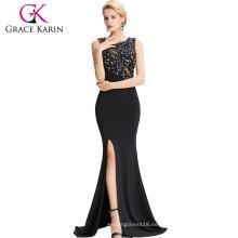 Grace Karin 2016 sin mangas High-Split Negro vestido de noche elegante 8 Tamaño EE.UU. 2 ~ 16 GK000043