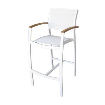 Patio moderne à rayons extérieurs Tabouret de bar / chaise avec batyline Mesh Sling Textilene Hotel Bistro Cafe Deck