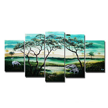 5 Panels Handmade Landscape Tree Oil Painting on Canvas