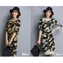 Korean O-Neck Camouflage Sweater Hoodies Knitting Dress
