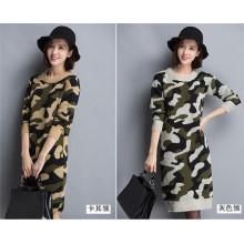 Корейский O-образным вырезом камуфляж свитер с капюшоном Вязание платье
