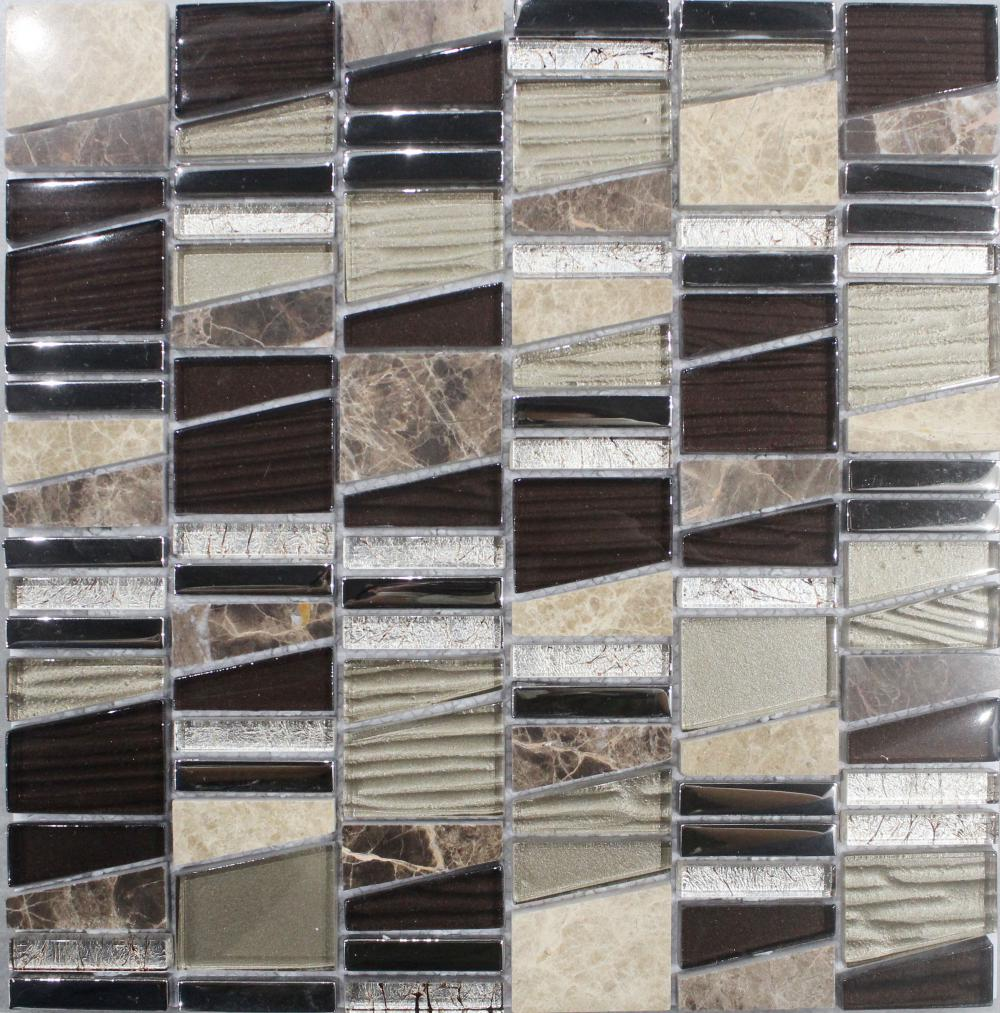 Irregular Chip Marble Glass Mixed Mosaic