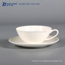 Branco copo de café cerâmico por atacado e pires conjunto, cerâmica grande xícara de chá e pires