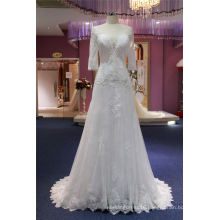 Long Sleeve Lace A Line Bridal Evening Dress Wedding Gown