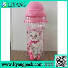 Projeto bonito dos desenhos animados do gato, filme de transferência térmica para a garrafa de água plástica