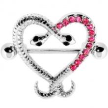 Pink Gem Heart Snake Embrace Nipple Shield
