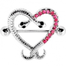 Pink Gem Heart Snake Embrace Nipple Shield