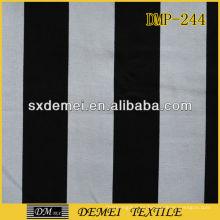 tela de lona 100% algodón a rayas negro blanco