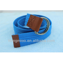 Cheap leisure blue embellished fabric belts for man with double ring buckle
