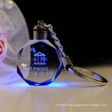 Llavero del vidrio cristalino del grabado del laser del LED 3D para el regalo