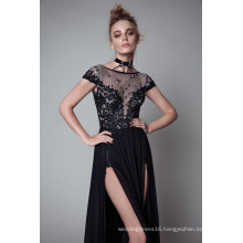 Black Side Slit A Line Evening Dress