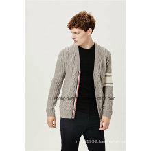 Cable Knit V Neck Men Cardigan with Ribbon