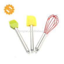 3pcs ensemble de cuisson en silicone avec spatules professionnelles fouet brosse avec manche en acier inoxydable