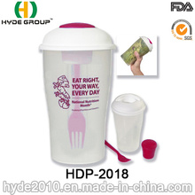 Wholesale Plastic to Go Salad Shaker Cup with Fork (HDP-2018)