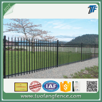 Powder coated steel residential garrison fencing