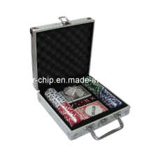 A microplaqueta do póquer 100PCS ajustou-se no caso de alumínio de canto quadrado (SY-S08)