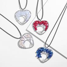 Arbre de vie Chakra collier pendentif en forme de coeur 7 chakras pierres précieuses naturelles collier fait main pour femmes hommes