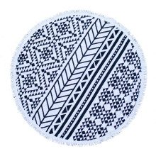 OEM Cotton or Microfiber Round Beach Towel with Tassels