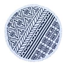 Toalha de praia redonda de microfibra ou algodão OEM com borlas