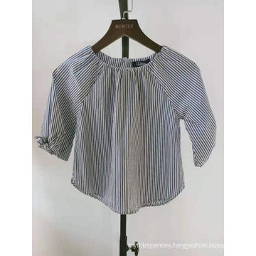 cotton yarn dyed striped tie sleeve girls blouse