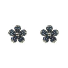 Boucles d'oreilles fleur en argent avec saphir CZ