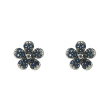 Silver Flower Stud Earrings with Sapphire CZ