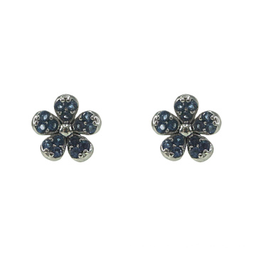 Silver Flower Stud Earrings with Sapphire CZ
