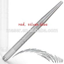 Heißer Verkauf Aluminium Microblading Augenbraue Handstück, Stickerei Maschine manuelle Hand Werkzeug, Silber manuelle Microblading Stift