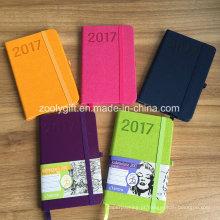 Novo promocional 2017 cor couro pu PU Agenda Agenda Journals Notebook
