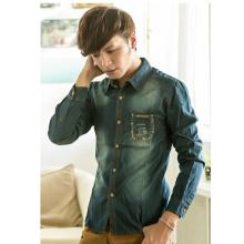 Free shipping men's 2015 fashion vintage style denim shirt