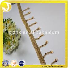 Franja de cuentas amarillas para vestidos y decoración del hogar