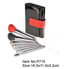 7pcs black plastic handle animal/nylon hair makeup brush tool set with black PU fold case