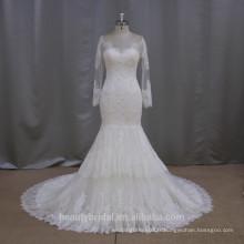 Vente en gros de manches super longues en dentelle description de sirène de la robe de mariée