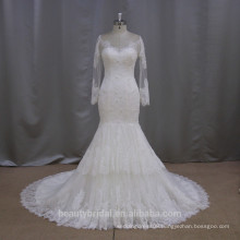wholesale super long sleeve lace mermaid description of wedding dress