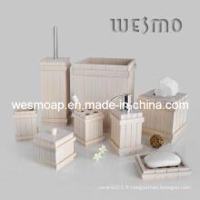 Ensemble de bain en bambou blanc Produit ménager (WBB0608B)