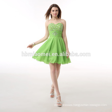 Custom made Evening dinner dress short green color sash elegant layers taobao evening dress